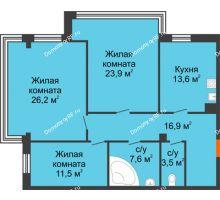 3 комнатная квартира 103,2 м², Клубный дом Green Вита (Грин Вита) - планировка