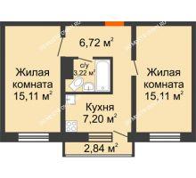 2 комнатная квартира 47,36 м² в ЖК Корабли, дом № 9-1 - планировка