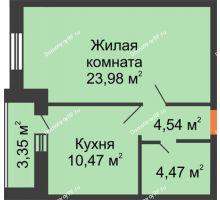 1 комнатная квартира 45,14 м², ЖК Парк Металлургов - планировка