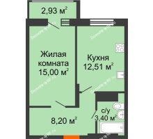 1 комнатная квартира 40,58 м² в Макрорайон Амград, дом №1 - планировка