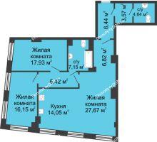 3 комнатная квартира 110,84 м², ЖК Гранд Панорама - планировка