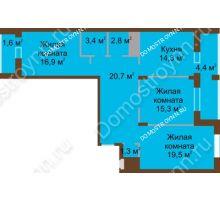 3 комнатная квартира 100,2 м² в ЖК Монолит, дом № 89, корп. 1, 2 - планировка