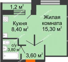 1 комнатная квартира 32,3 м² в ЖК Спортивный парк, дом Литер 6 - планировка