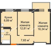 2 комнатная квартира 51,43 м², Жилой дом в 7 мкрн.г.Сосновоборск - планировка