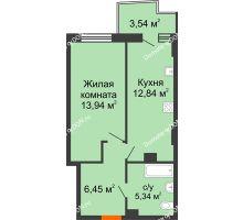 1 комнатная квартира 39,63 м² в ЖК Сердце Ростова 2, дом Литер 7 - планировка