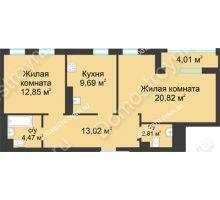 2 комнатная квартира 65,66 м² в ЖК Воскресенская слобода, дом №1 - планировка