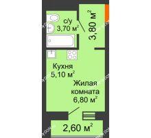 Студия 20,7 м² в ЖК НОРД, дом № 13 - планировка