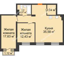 2 комнатная квартира 73,29 м², ЖК Шаляпин - планировка