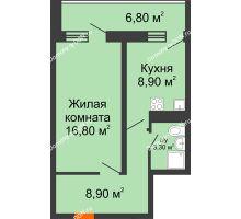 1 комнатная квартира 41,6 м² в ЖК Звезда Столицы, дом Литер 5 - планировка